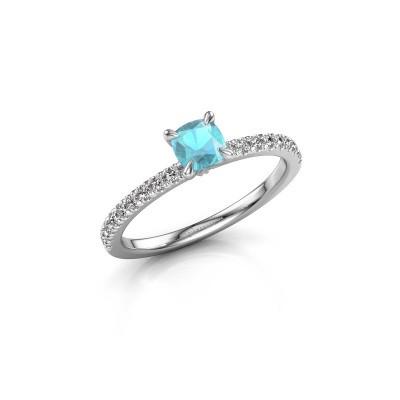 Foto van Verlovingsring Crystal CUS 2 585 witgoud blauw topaas 5 mm