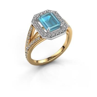 Promise ring Angelita EME 585 goud blauw topaas 8x6 mm