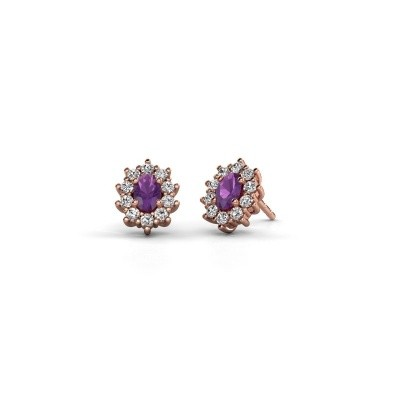 Picture of Earrings Leesa 375 rose gold amethyst 6x4 mm