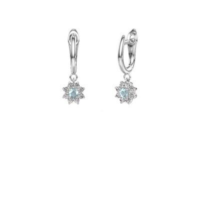 Drop earrings Camille 1 585 white gold aquamarine 3 mm