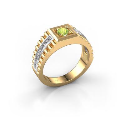 Men's ring Maikel 585 gold peridot 4.2 mm