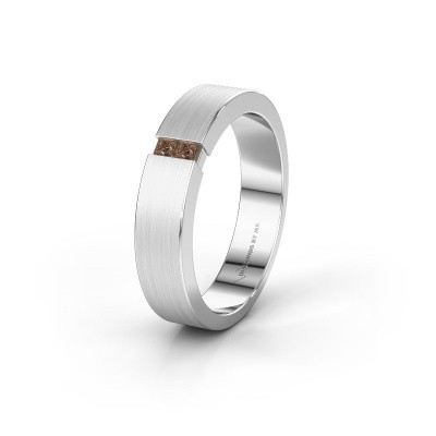 Trouwring WH2136M15E 950 platina bruine diamant ±5x2.4 mm