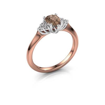 Verlovingsring Felipa per 585 rosé goud bruine diamant 0.765 crt