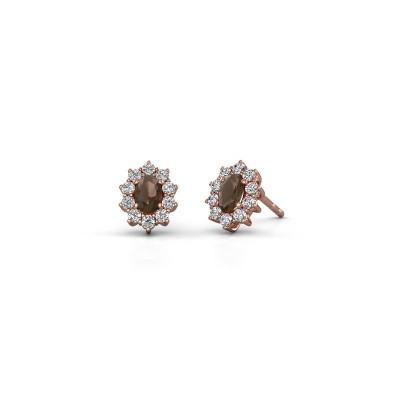 Picture of Earrings Leesa 375 rose gold smokey quartz 6x4 mm
