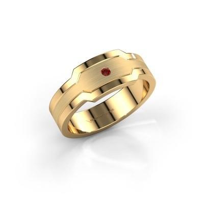 Heren ring Guido 585 goud granaat 2 mm