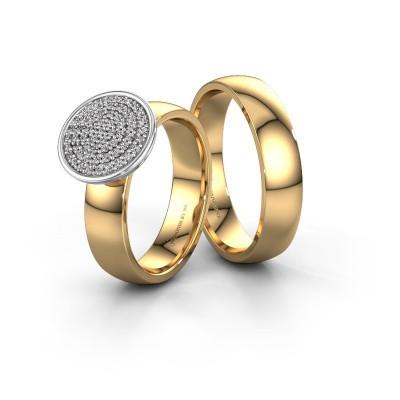 Foto van Trouwringen set WHR0460LM25AP ±5x1.7 mm 14 karaat goud diamant 0.005 crt