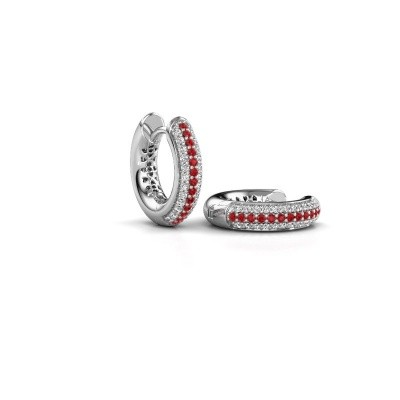 Picture of Hoop earrings Tristan B 14 mm 585 white gold ruby 1 mm