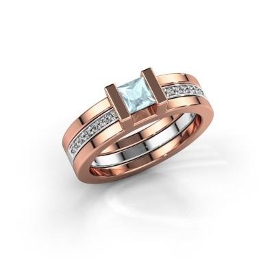 Foto van Ring Desire 585 rosé goud aquamarijn 4 mm