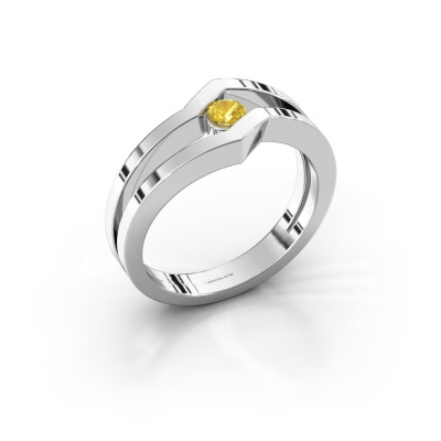 Ring Elize 585 white gold yellow sapphire 3.4 mm