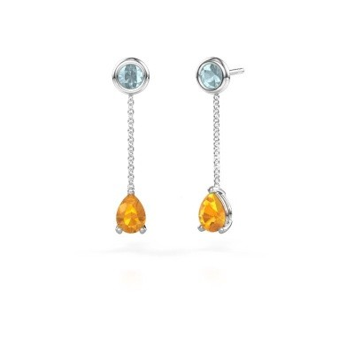 Picture of Drop earrings Laurie 3 950 platinum citrin 7x5 mm
