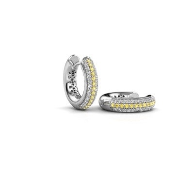 Picture of Hoop earrings Tristan B 14 mm 950 platinum yellow sapphire 1 mm