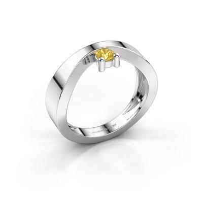 Verlovingsring Elisabeth 375 witgoud gele saffier 3.4 mm