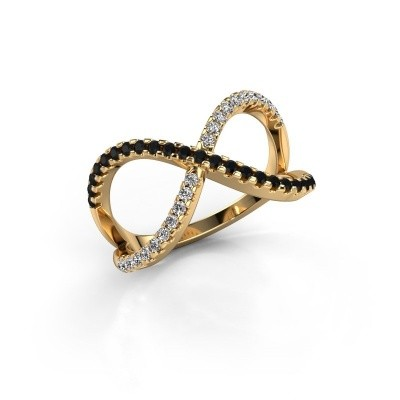 Ring Alycia 2 375 gold black diamond 0.496 crt