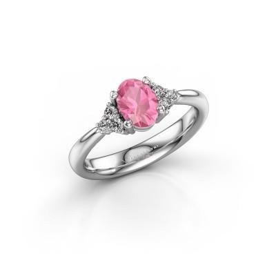 Foto van Verlovingsring Aleida OVL 1 585 witgoud roze saffier 7x5 mm
