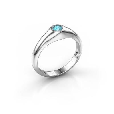 Foto van Pinkring Thorben 925 zilver blauw topaas 4 mm