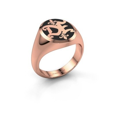 Foto van Monogram ring Xandro Emaille 375 rosé goud zwarte emaille