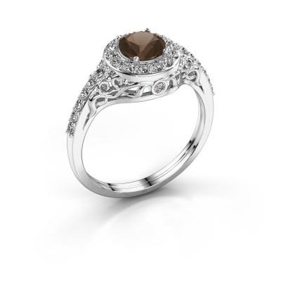 Ring Yurani 950 platina rookkwarts 6 mm