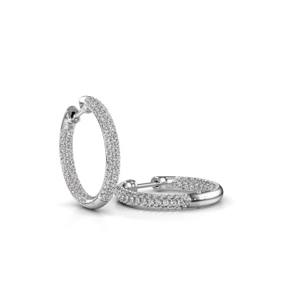 Picture of Hoop earrings Lotje 15mm 585 white gold diamond 1.152 crt