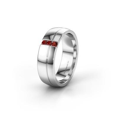 Wedding ring WH0223L56A 950 platinum garnet ±0.24x0.07 in