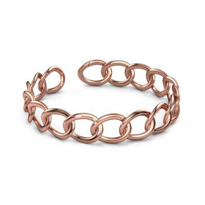 Platte schakel armband Rose 15mm 375 rosé goud