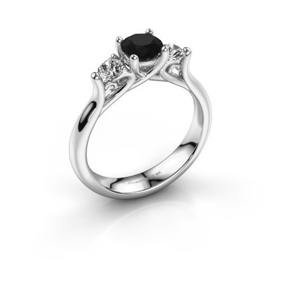 Foto van Verlovingsring Jente 585 witgoud zwarte diamant 1.08 crt