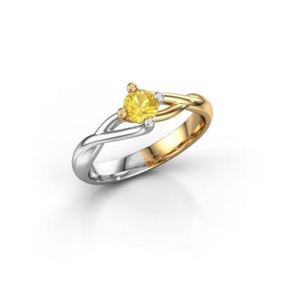 Foto van Ring Paulien 585 goud gele saffier 4.2 mm