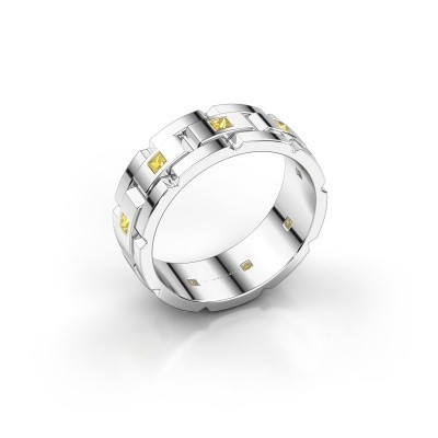 Foto van Rolex stijl ring Ricardo 585 witgoud gele saffier 2 mm