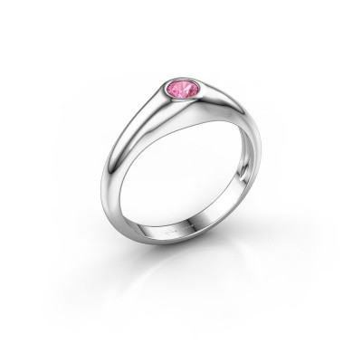 Picture of Pinky ring Thorben 950 platinum pink sapphire 4 mm