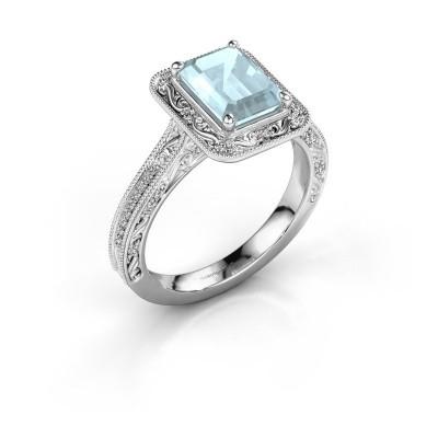 Verlovings ring Alice EME 585 witgoud aquamarijn 7x5 mm