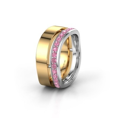 Weddings ring WH6008L18BP 585 gold pink sapphire ±10x2 mm