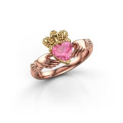 Foto van Ring Claddagh 2 585 rosé goud roze saffier 6 mm