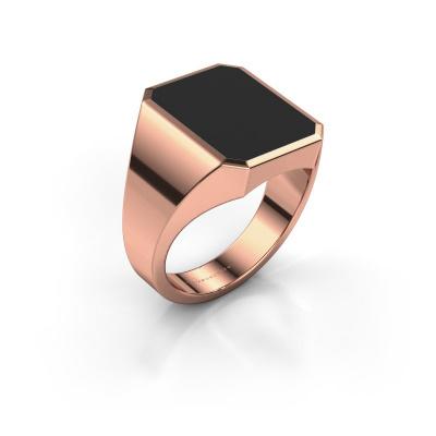 Foto van Zegelring Lars 4 375 rosé goud zwarte emaille 15x12 mm