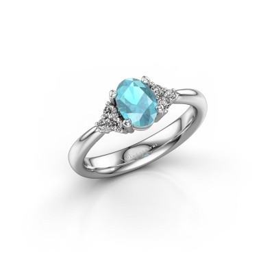 Picture of Engagement ring Aleida OVL 1 925 silver blue topaz 7x5 mm