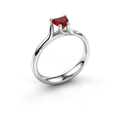 Engagement ring Dewi Heart 950 platinum ruby 5 mm