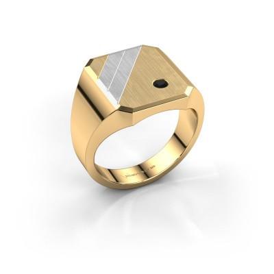 Foto van Zegelring Patrick 4 585 goud zwarte diamant 0.072 crt