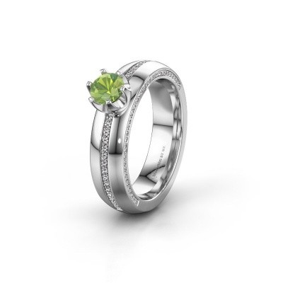 Weddings ring WH0416L25E 950 platinum peridot ±0.20x0.1in