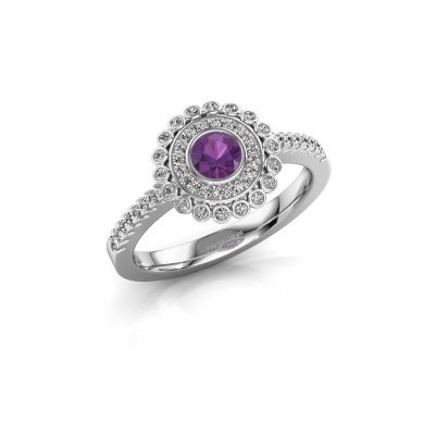 Engagement ring Shanelle 925 silver amethyst 4 mm