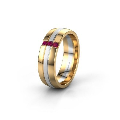 Wedding ring WH0426L26A 585 gold rhodolite ±6x1.7 mm