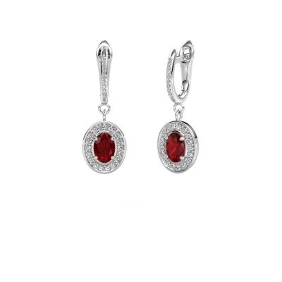 Picture of Drop earrings Layne 2 585 white gold ruby 7x5 mm