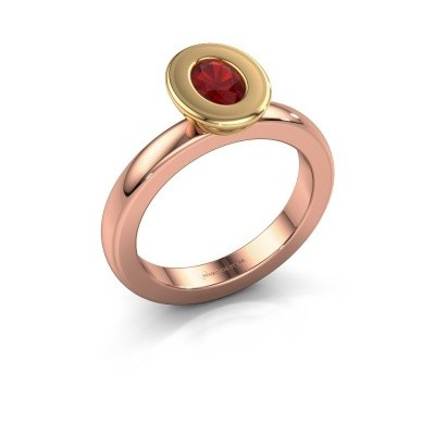 Stapelring Eloise Oval 585 rosé goud robijn 6x4 mm