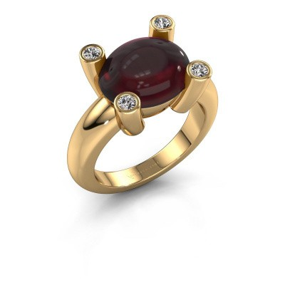 Ring Janice OVL 585 goud granaat 12x10 mm