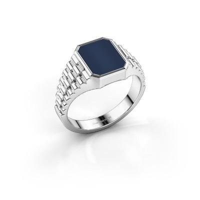 Foto van Rolex stijl ring Brent 1 585 witgoud donker blauw lagensteen 10x8 mm