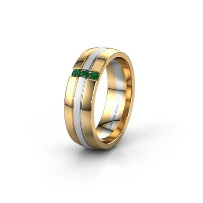 Wedding ring WH0426L26A 585 gold emerald ±6x1.7 mm
