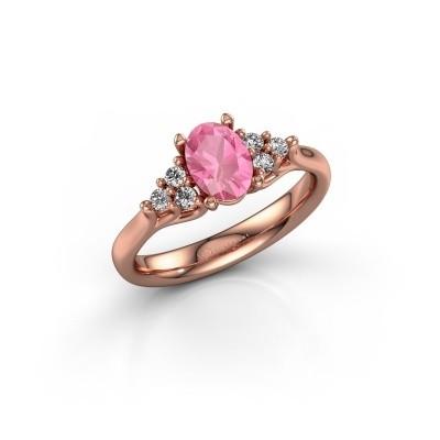 Foto van Verlovingsring Monika OVL 375 rosé goud roze saffier 7x5 mm