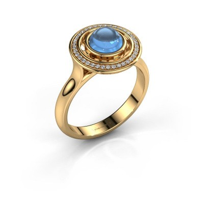 Ring Salima 585 goud blauw topaas 6 mm