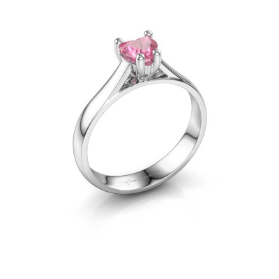 Engagement ring Sam Heart 585 white gold pink sapphire 5 mm
