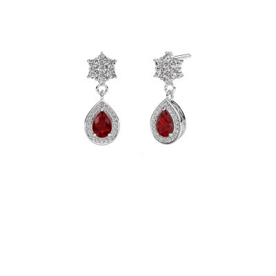 Drop earrings Era 375 white gold ruby 6x4 mm
