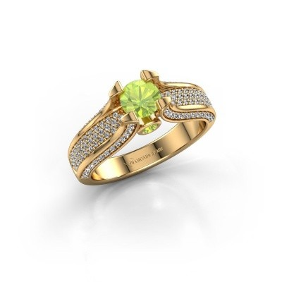 Verlovingsring Jeanne 2 375 goud peridoot 5 mm