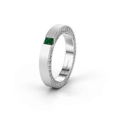 Trouwring WH2140L14B 585 witgoud smaragd ±3,5x2 mm