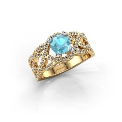 Verlovingsring Jeni 585 goud blauw topaas 6.5 mm